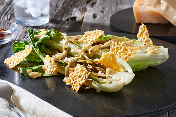Grilled Caesar Salad with Homemade Dressing and Cheddar Crisps