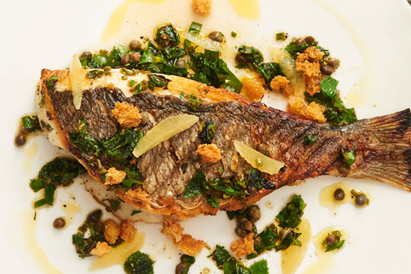 Grilled Sea Bream with Herbs and Garlic Croutons